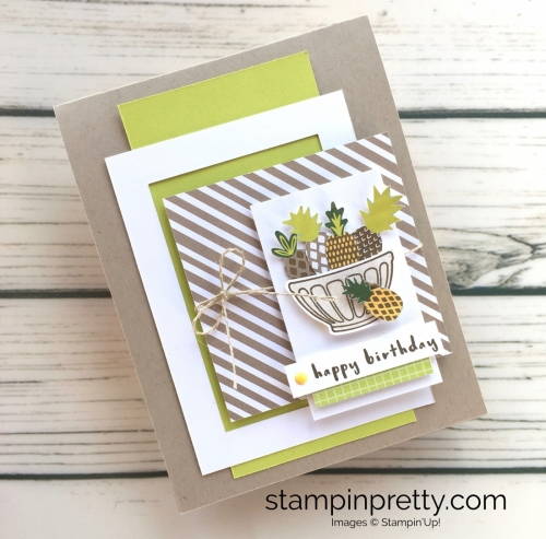 Learn how to create simple birthday cards using Stampin Up Tutti Frutti Fruit Basket - Mary Fish StampinUp idea