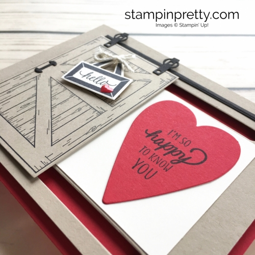 Learn how to create this sliding barn door valentine card with Stampin Up Barn Door - Mary Fish StampinUp
