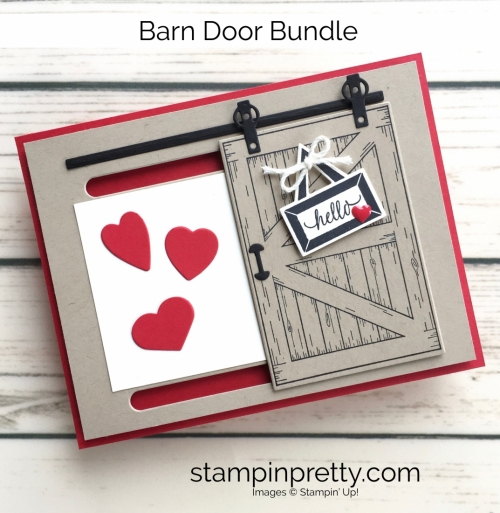 Learn how to create this sliding barn door valentine card with Stampin Up Barn Door - Mary Fish StampinUp Love