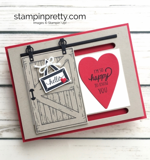 Learn how to create this sliding barn door valentine card with Stampin Up Barn Door - Mary Fish StampinUp Slider