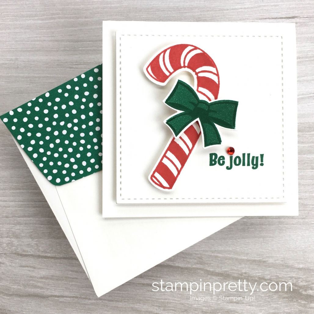Create a simple 3 x 3 holiday gift card using Stampin Up! Candy Cane Season & Candy Cane Builder Punch - Mary Fish StampinUp Idea