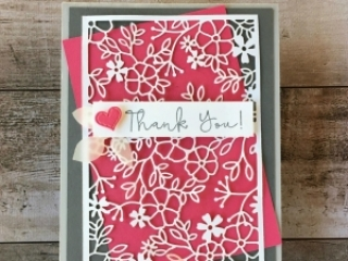 Create a simple thank you card using Stampin Up Delightfully Detailed Laser-Cut Specialty Designer Series Paper - Mary Fish StampinUp