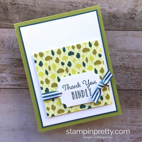 Create a simple thank you card using Stampin Up Hanging Garden - Mary Fish StampinUp tree