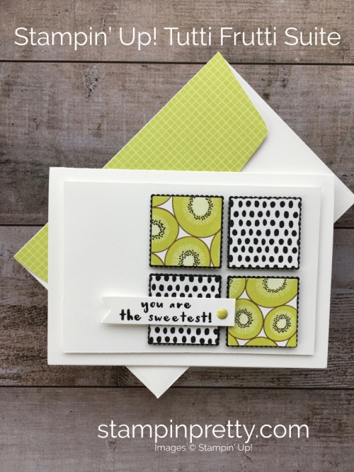 Create a thank you card using Stampin Up Tutti Frutti Designer Series Paper & Fruit Basket - Mary Fish StampinUp Idea