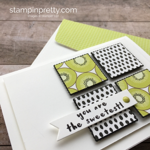 Create a thank you card using Stampin Up Tutti Frutti Designer Series Paper & Fruit Basket - Mary Fish StampinUp Ideas