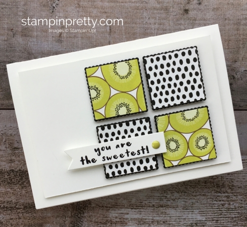 Create a thank you card using Stampin Up Tutti Frutti Designer Series Paper & Fruit Basket - Mary Fish StampinUp Kiwi