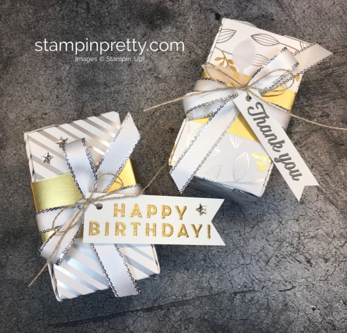 Happy Birthday Gift Box Stampin Up Springtime Foil Ideas - Mary Fish StampinUp