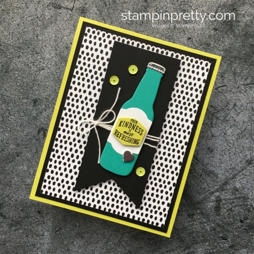 Simple thank you card Stampin Up Bubble Over Stamp Set & Bottles & Bubbles Framelits Dies - Mary Fish StampinUp