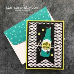 Simple thank you card Stampin Up Bubble Over Stamp Set & Bottles & Bubbles Framelits Dies - Mary Fish StampinUp Envelope