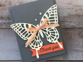 Stampin Up Butterflies Thinlits Dies butterfly thank you card idea - Mary Fish StampinUp