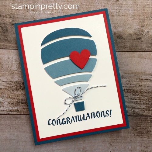 Create a simple boy baby card using Stampin Up & Away Thinlits Dies - Mary Fish StampinUp Idea