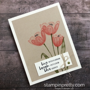 Create a simple friend card using Stampin Up Tranquil Tulips stamp set ideas - Mary Fish StampinUp