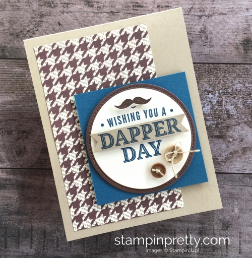 Create a simple masculine card using Stampin Up Truly Tailored stamp set - Mary Fish StampinUp idea