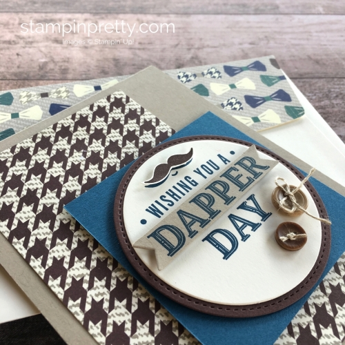 Create a simple masculine card using Stampin Up Truly Tailored stamps set - Mary Fish StampinUp ideas