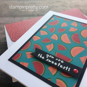 Create a simple thank you card using Stampin Up Tutti Frutti Designer Series Paper & Fruit Basket Stamp Set - Mary Fish StampinUp
