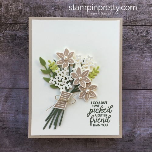 Create a friend card using Stampin Up Beautiful Bouquet Bunch Framelits Dies - Mary Fish StampinUp