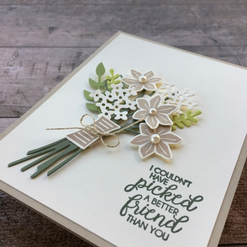 Create a friend card using Stampin Up Beautiful Bouquet Bunch Framelits Dies - Mary Fish StampinUp idea