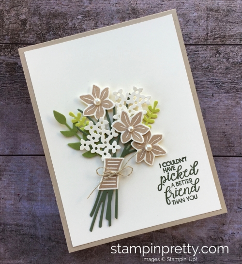 Create a friend card using Stampin Up Beautiful Bouquet Bunch Framelits Dies - Mary Fish StampinUp ideas