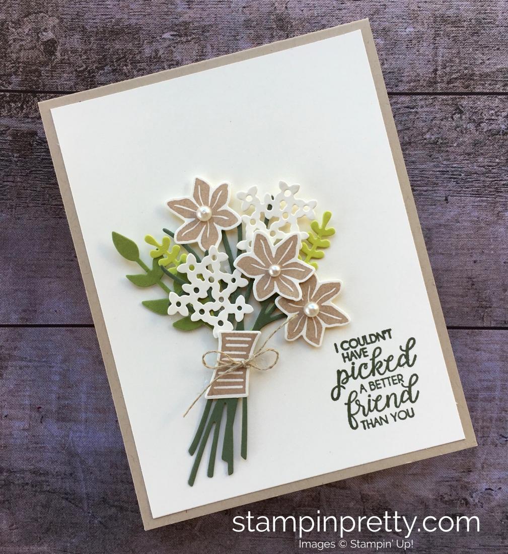 Pretty Friend Card With Bouquet Bunch Framelits Dies Stampin Pretty