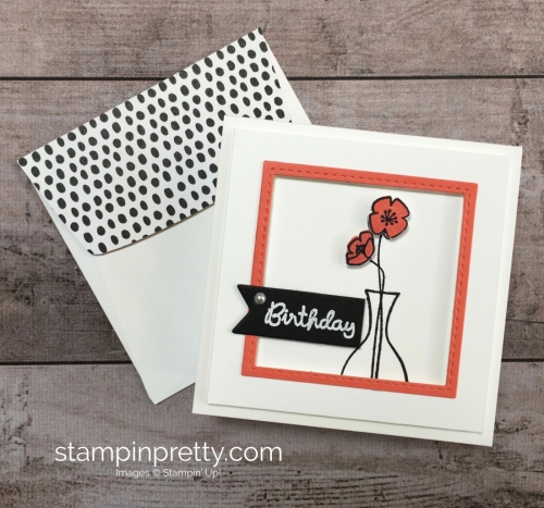 Create a simple 3 x 3 birthday card using Stampin Up Varied Vases Stamp Set and Vase Builder Punch - Mary Fish StampinUp