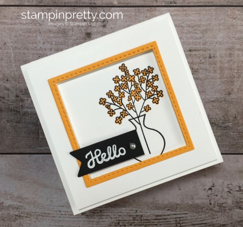 Create a simple 3 x 3 hello card using Stampin Up Varied Vases Stamp Set and Vase Builder Punch - Mary Fish StampinUp