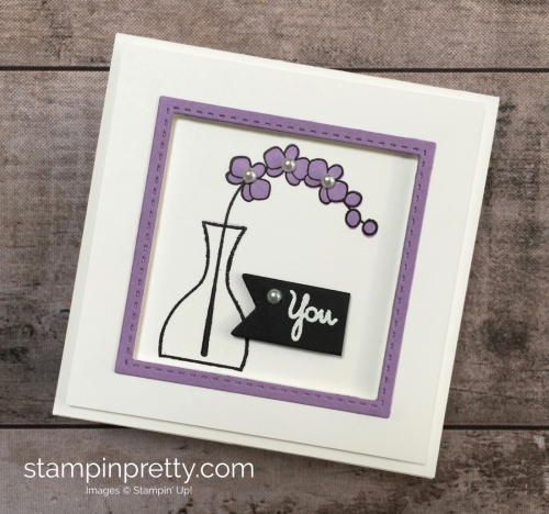 Create a simple 3 x 3 orchid card using Stampin Up Varied Vases Stamp Set and Vase Builder Punch - Mary Fish StampinUp