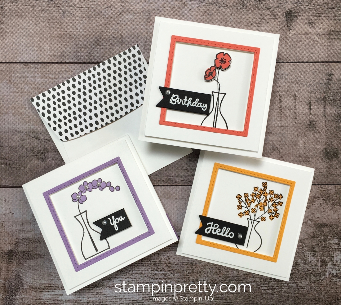 Create a simple 3 x 3 thank you card using Stampin Up Varied Vases Stamp Set and Vase Builder Punch - Mary Fish StampinUp