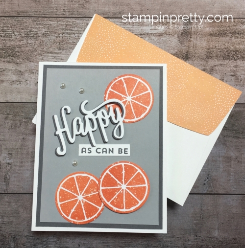 Create a simple birthday card with orange using Stampin Up Lemon Zest - Mary Fish StampinUp ideas