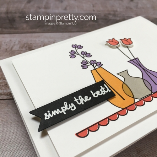 Create a simple friend card idea using Stampin Up Varied Vases Stamp Set and Vase Builder Punch - Mary Fish StampinUp