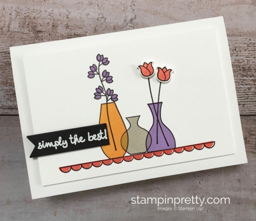 Create a simple friend card using Stampin Up Varied Vases Stamp Set and Vase Builder Punch - Mary Fish StampinUp