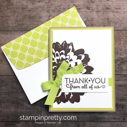 Create a simple thank you card using Stampin Up Definitely Dahlia and One Big Meaning Stamp Set - Mary Fish StampinUp