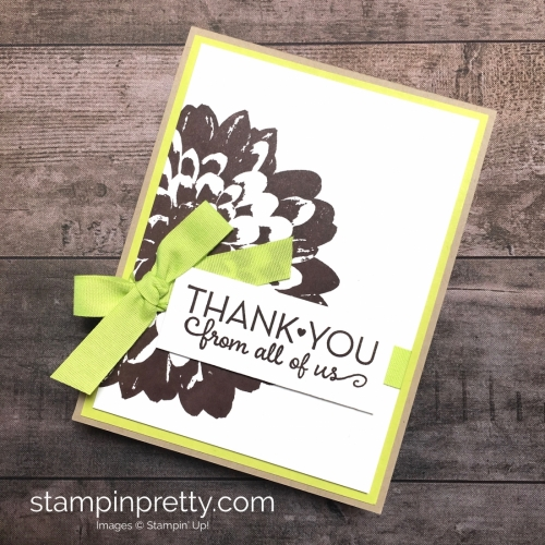 Create a simple thank you card using Stampin Up Definitely Dahlia and One Big Meaning Stamp Sets - Mary Fish StampinUp