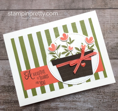 Create a simple thank you card using Stampin Up Picnic with You Basket Ideas - Mary Fish StampinUp