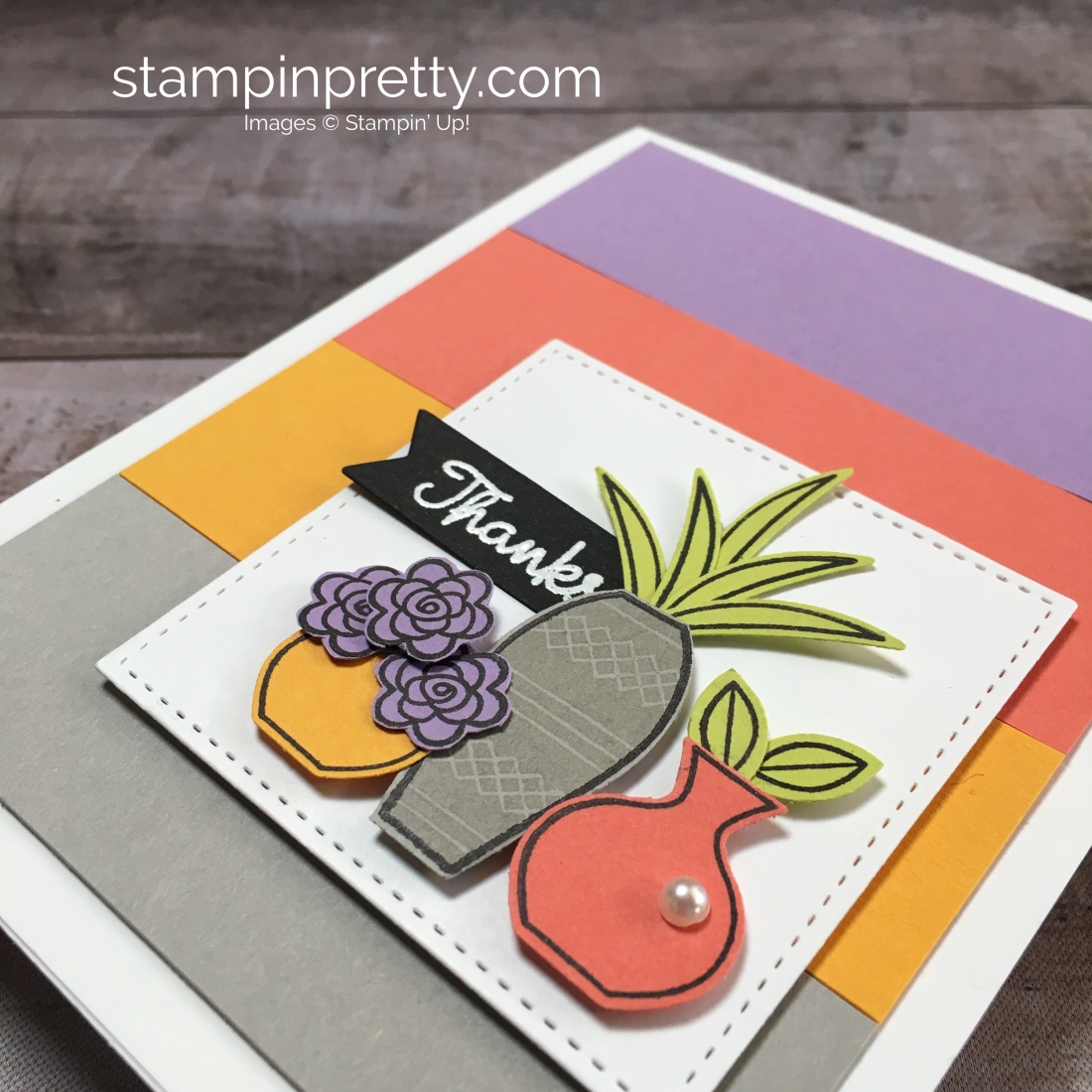Create a simple thank you card using Stampin Up Varied Vases Stamp Set and Vase Builder Punch - Mary Fish StampinUp Idea