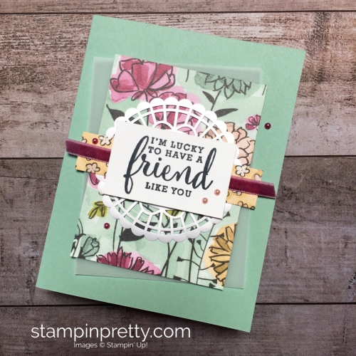 Create a friend card with Stampin Up Love What You Do stamp set - Mary Fish StampinUp Idea