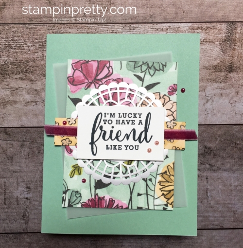 Create a friend card with Stampin Up Love What You Do stamp set - Mary Fish StampinUp Ideas