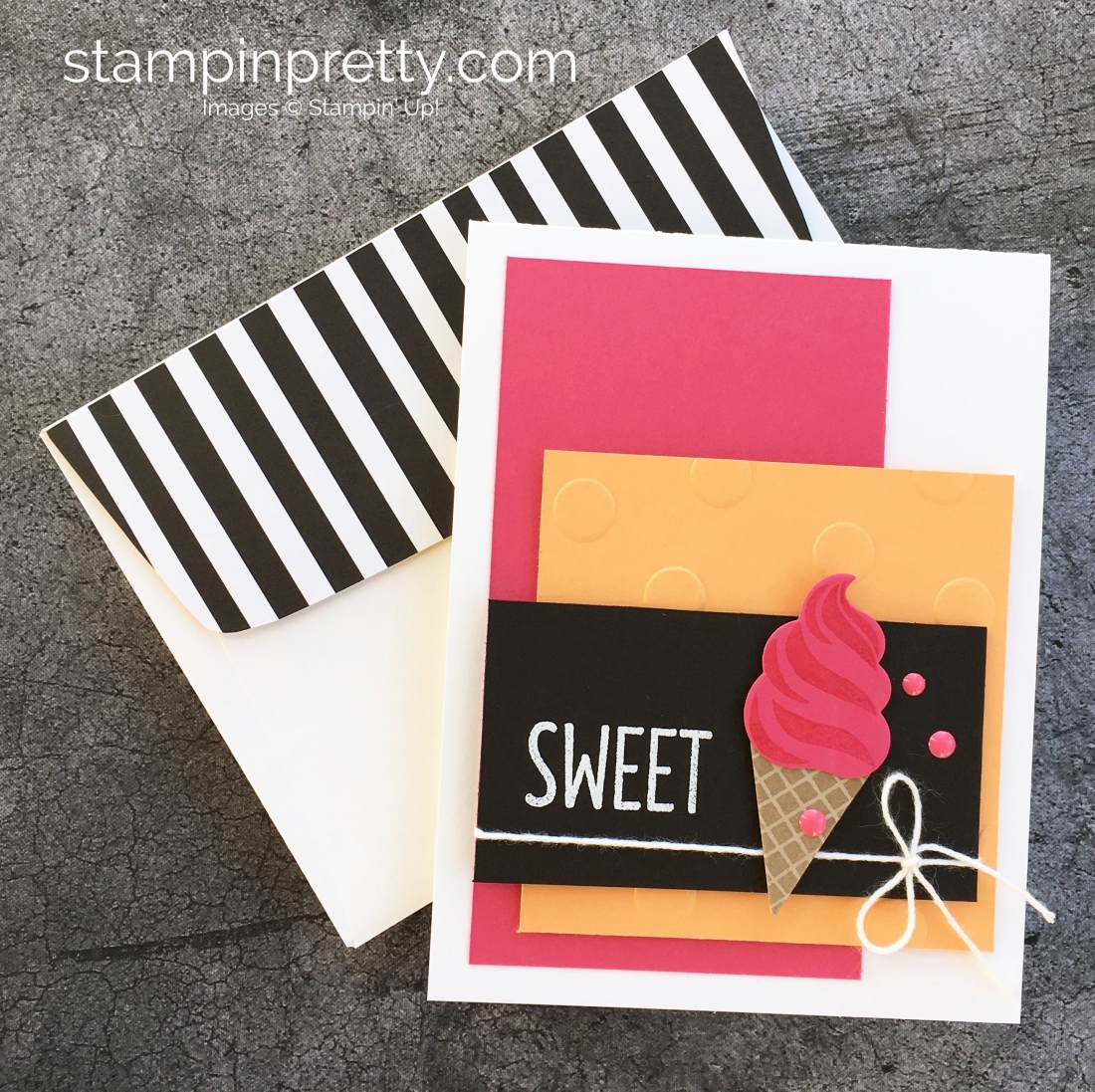 Create a simple birthday card using Stampin Up Frozen Treats dies - Mary Fish StampinUp Ideas
