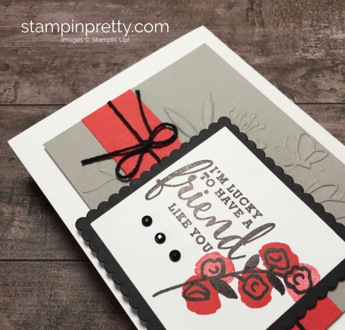 Create a simple friend card using Love What You Do stamp set - Mary Fish StampinUp