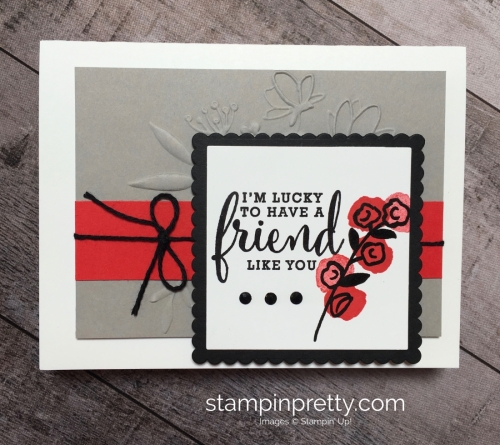 Create a simple friend card using Love What You Do stamp set - Mary Fish StampinUp Idea