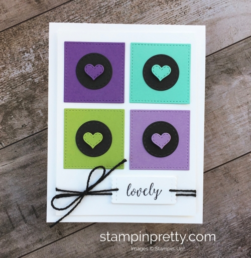 Create a simple friendship card using Stampin Up Stitched Labels Framelits Die - Mary Fish StampinUp