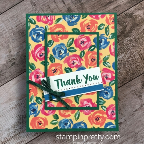 Create a simple thank you card using Stampin Up Abstract Impressions - Mary Fish StampinUp Ideas