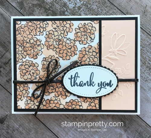 Create a simple thank you card using Stampin Up Love What You Do - Mary Fish StampinUp Pretty Ideas