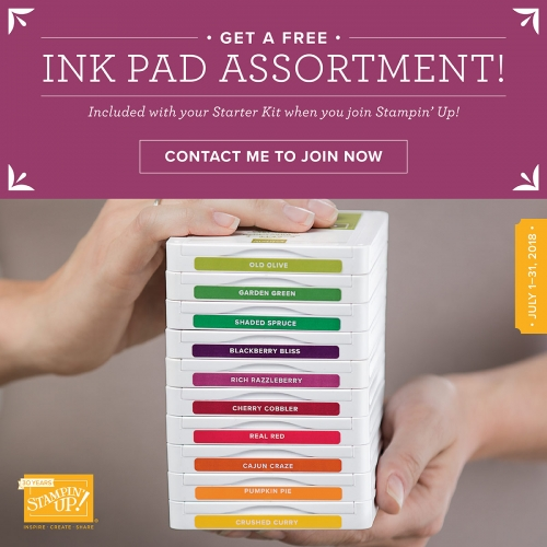 10 Ink Pads FREE! Stampin' Up! Ink Pad Promotion July 1 - 31