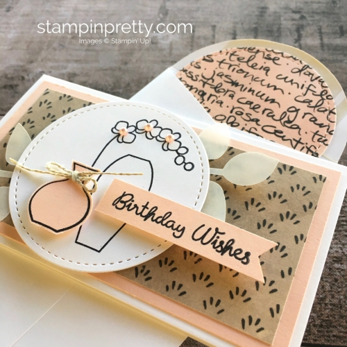 Create a simple birthday narrow note card using Stampin Up Varied Vases - Mary Fish StampinUp
