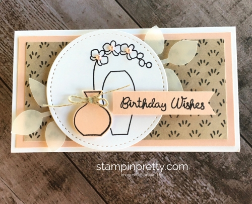 Create a simple birthday narrow note card using Stampin Up Varied Vases - Mary Fish StampinUp Idea