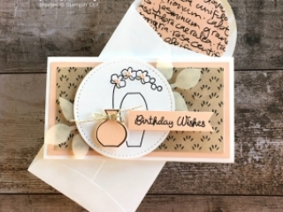 Create a simple birthday narrow note card using Stampin Up Varied Vases - Mary Fish StampinUp Ideas