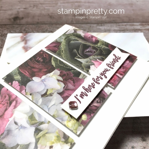 Create a simple card with Stampin Up Petal Promenade Designer Series Paper - Mary Fish StampinUp Card Ideas
