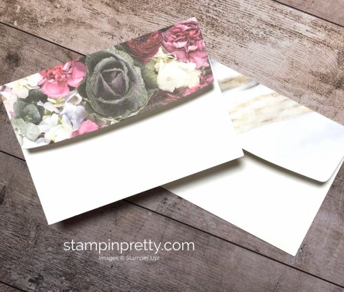 Create a simple card with Stampin Up Petal Promenade Designer Series Paper - Mary Fish StampinUp envelopes