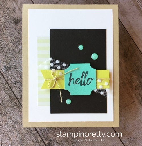 Create a simple hello card with Stampin Up Darling Label Punch Box Kit - Mary Fish StampinUp