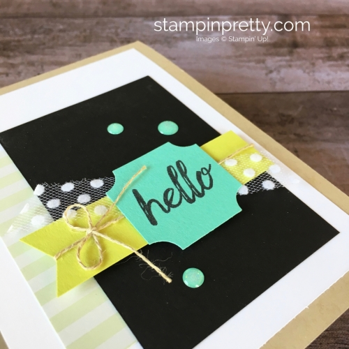 Create a simple hello card with Stampin Up Darling Label Punch Box Kit - Mary Fish StampinUp Idea